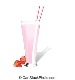 Strawberry milkshake with fresh strawberries on white...