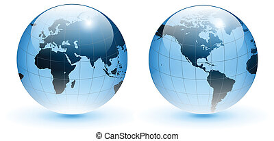 Globe of the world, vector - Globe of the world, blue glass,...