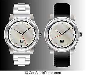 Watches - A vector illustration of two wristwatches with...