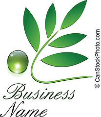 Logo ecological, green leaves and dew drop.