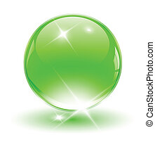 3D crystal sphere, green ball Vector illustration