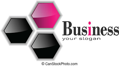logo three hexagons, pink and black
