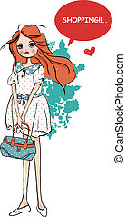 fashion shopping cute girl - illustration vector sketch...