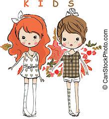 cute lovely friend kids children - illustration vector...