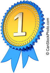 Award ribbon number one golden - Award ribbon badge golden...