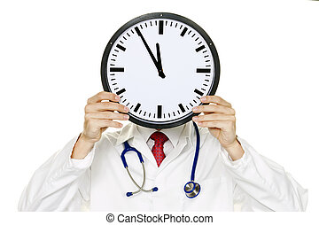 Doctors stress in front of the head with Clock - A doctor in...