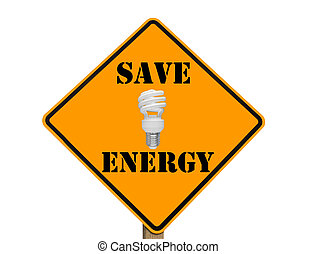 sign with compact fluorescent lightbulb - yellow traffic...