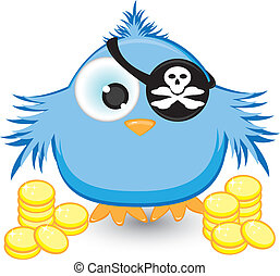 Cartoon pirate sparrow with gold coins Illustration on white...