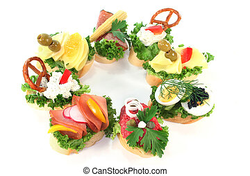 Canape - different colored Canapes on a white background