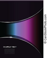 Abstract background colorful lines over black, vector.