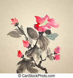 painting - Chinese traditional ink painting of red flowers...