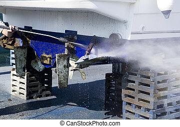 barco, Casco, limpieza, agua, presión, arandela