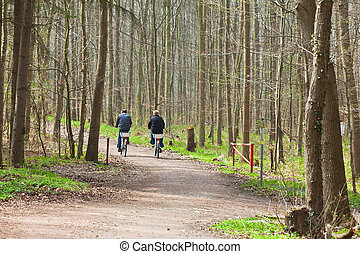 bicycle riding - Man and woman riding a bicycles through the...