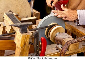 amoladora, tradicional, rueda, mano, herramientas, afilado,...