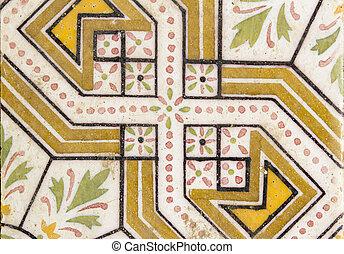 arabo, fiore, pavimento, tradizionale,  creamic, disegno, piastrella