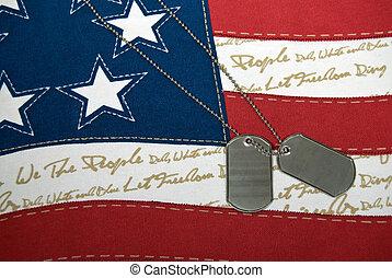 military tags on holiday flag - Dog tags on holiday flag