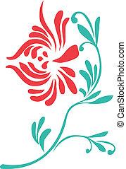 Oriental flower - Oriental red flower