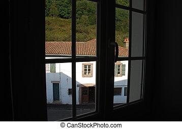 fenêtre, volets, a
