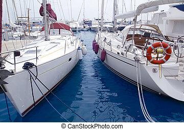 Marina sailboats in Formentera Balearic Islands Ibiza Spain