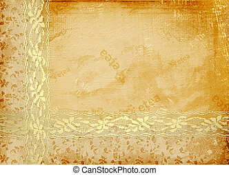 Card for invitation or congratulation with lace