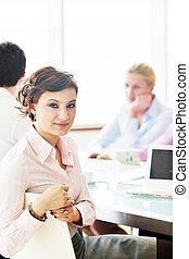 young business woman on meeting - one happy young business...