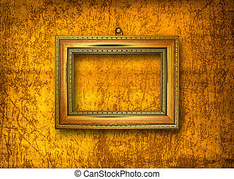 grunge  interior with frame in style baroque