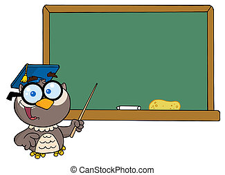 Professor Owl And Chalk Board - Owl Teacher Cartoon...