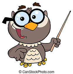 Professor Owl Cartoon Character - Owl Teacher Cartoon...