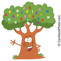 Friendly Alphabet Tree Waving - Happy Cartoon Tree Waving A...