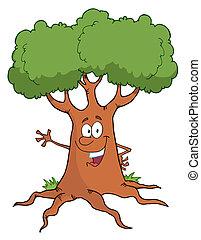 Friendly Tree Waving - Happy Cartoon Tree Character Waving A...
