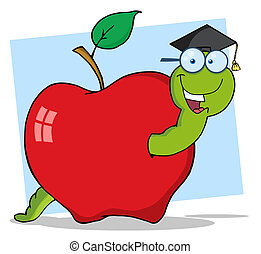 Happy Graduate Worm In Apple