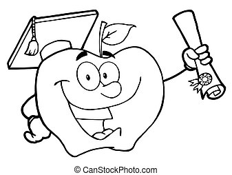 Student Apple Holding A Diploma - Outlined Happy Apple...