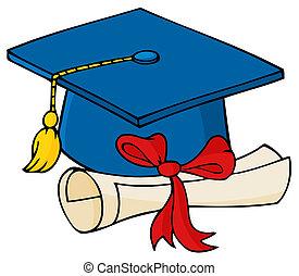 graduado, azul, boné, com, diploma