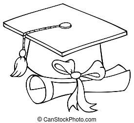graduado, boné, com, diploma
