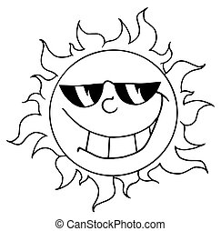 Sun Mascot Cartoon Character - Outlined Happy Sun Mascot...