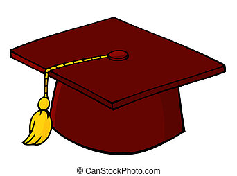 Red Graduation Cap And Tassel