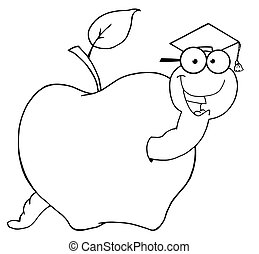 Outlined Student Worm In An Apple