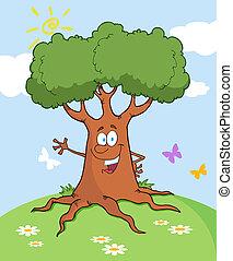 Friendly Tree Waving On A Hill - Happy Cartoon Tree Waving A...