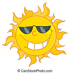 Sun Mascot Cartoon Character - Happy Sun Mascot Cartoon...