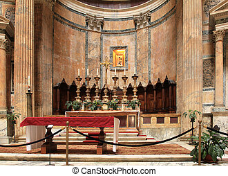 Pantheon, Rome - Rome, Italy. Pantheon - altar in the famous...