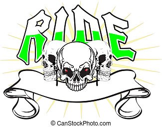 skulls ride - three skulls with a banner in a more pointed...