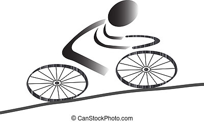 Cycling icon - Biking icon men with gradients as...