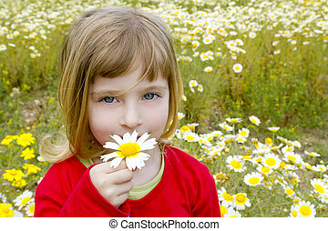 blond little girl smelling daisy spring flower meadow