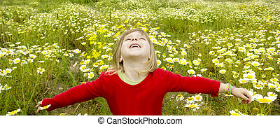 blond girl open arms spring meadow daisy flowers - blond...