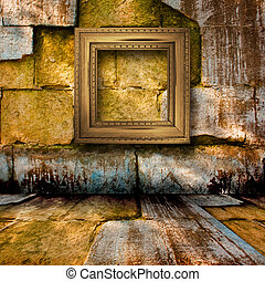 The old stone room with wooden picture frames in Victorian...