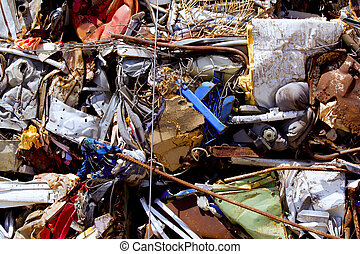 iron scrap metal compacted to recycle green process ecology...