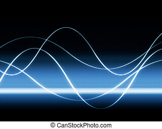 waves on video - close up of blue monitor displaying sines...