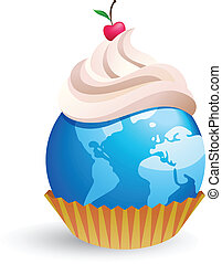 world cupcake with cream and cherry, vector illustration