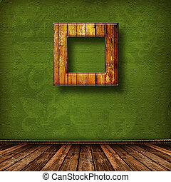 Old grunge room with wooden picture frames in Victorian...