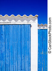 architecture balearic islands white blue doors detail...